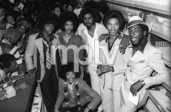 """""""Switch"""" at Freeway Records in Los Angeles, CA(Tommy DeBarge, Eddie Fluellen, Bobby DeBarge, Jody Sims, Phillip Ingram, Gregory Williams)circa 1979© 1979 Bobby Holland - Image 24331_0226"""