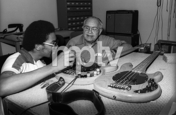 Louis Johnson, of The Brothers Johnson, and Leo Fender at Leo Fender