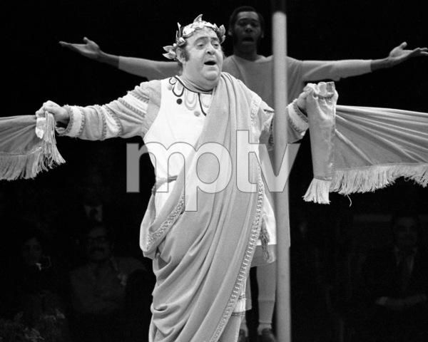 "Zero Mostel performing in ""A Funny Thing Happened on the way to the Forum"" at Westbury Music Fair in New York 1973© 1978 Barry Kramer - Image 24354_0159"