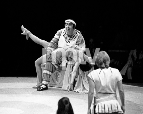 """Zero Mostel performing in """"A Funny Thing Happened on the way to the Forum"""" at Westbury Music Fair in New York 1973© 1978 Barry Kramer - Image 24354_0162"""