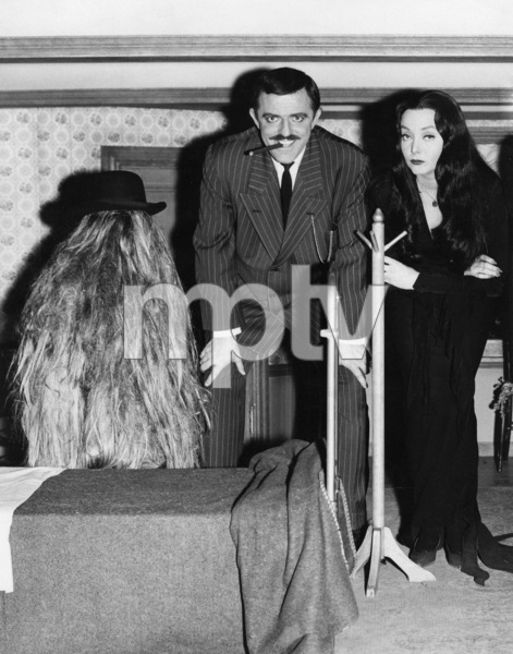 """The Addams Family"" (Episode: Cousin Itt and the Vocational Counselor)Felix Silla, John Astin, Carolyn Jones1965** I.V. - Image 24383_0751"
