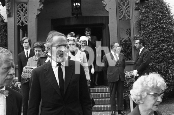 Photographer John Swope and Henry Fonda attend the funeral of 1LT Ronald Walsh McLean (son of Gloria Hatrick Stewart, and stepson of James Stewart. He was killed in action in Vietnam)1969** J.C.C. - Image 24385_0051