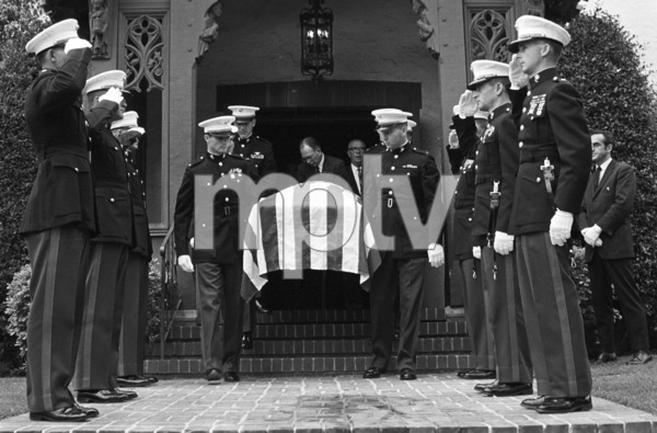 Marines (1st Lieutenant Ed Kenney standing at the head of the casket) attend the funeral of 1LT Ronald Walsh McLean (son of Gloria Hatrick Stewart, and stepson of James Stewart. He was killed in action in Vietnam)1969** J.C.C. - Image 24385_0052