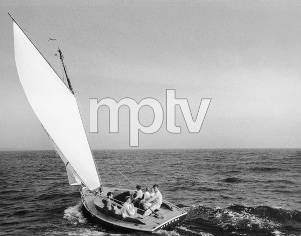 John F. Kennedy, Jacqueline Kennedy, Ted Kennedy and Caroline Kennedy surrounded by cousins at Nantucket Sound 1959 © 2000 Mark Shaw  - Image 2554_0046