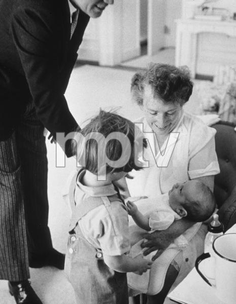 Nanny Mrs. Maud Shaw, Caroline Kennedy, John Kennedy Jr. and John F. Kennedy at The White House1961 © 2000 Mark Shaw - Image 2554_0078