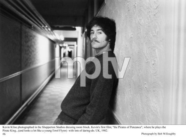 """Kevin Kline outside dressing room""""Pirates of Penzance, The"""" 1982 © 1982 Bob Willoughby - Image 2563_0101"""