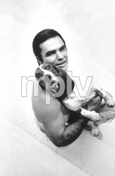 Burt Reynolds with his dog, Bertha, at home in Sherman Oaks, CA1970 © 1978 Gene Trindl - Image 2868_0170