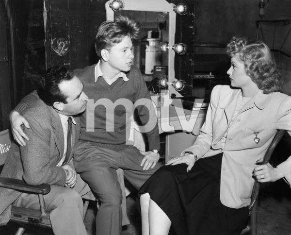 """Harold Lloyd, Mickey Rooney and Lucille Ball on the set of """"A Girl, a Guy, and a Gob""""1941 RKO Radio PicturesPhoto by Fred Hendrickson** B.D.M. - Image 2889_0165"""