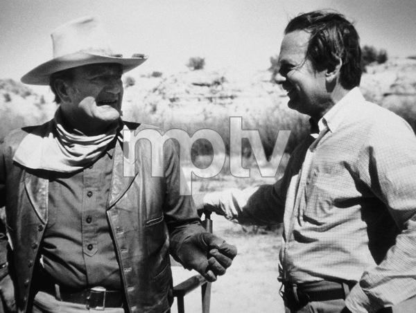 """The Cowboys,"" Warner Bros. 1971.David Brinkley visiting John Wayne on location. © 1978 David Sutton - Image 3370_0021"