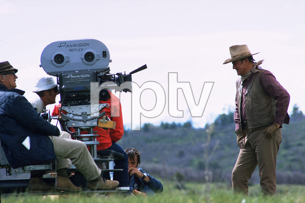 """The Cowboys"" Director, Mark Rydell, and John Wayne during filming 1971 Warner Brothers © 1978 David Sutton - Image 3370_0619"