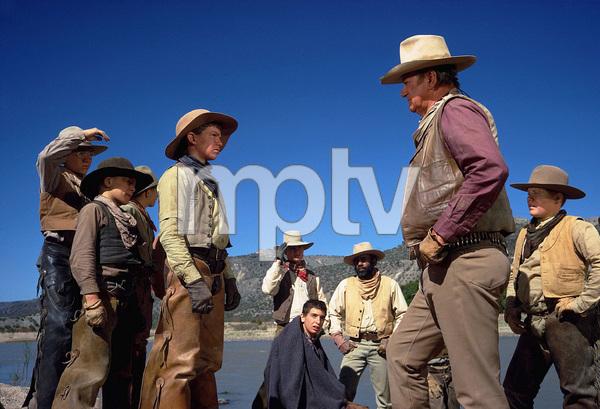 """The Cowboys,"" Warner Bros. 1971.John Wayne, his boys, and Roscoe Lee Brown. © 1978 David Sutton - Image 3370_0620"