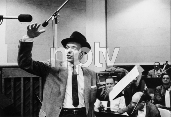 """Frank Sinatra at """"The Man with the Golden Arm"""" recording session, Hollywood, CA, 1955. © 1978 Bob Willoughby / MPTV - Image 337_1684"""