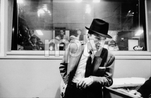 """Frank Sinatra at """"The Man with the Golden Arm"""" recording session, Hollywood, CA, 1955.(Otto Preminger and Kim Novak in control room) © 1978 Bob Willoughby / MPTV - Image 337_1685"""