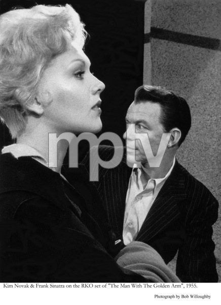 """""""The Man with the Golden Arm""""Kim Novak and Frank Sinatra on the RKO set1955 © 1978 Bob Willoughby - Image 3575_0023"""