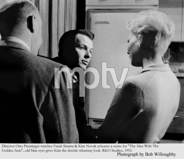 """""""The Man with the Golden Arm""""Director Otto Preminger watches Frank Sinatra and Kim Novak rehearse a scene1955 © 1978 Bob Willoughby - Image 3575_0025"""