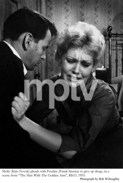 """""""The Man with the Golden Arm""""Kim Novak pleads with Frank Sinatra to give up drugs in a scene1955 © 1978 Bob Willoughby - Image 3575_0079"""