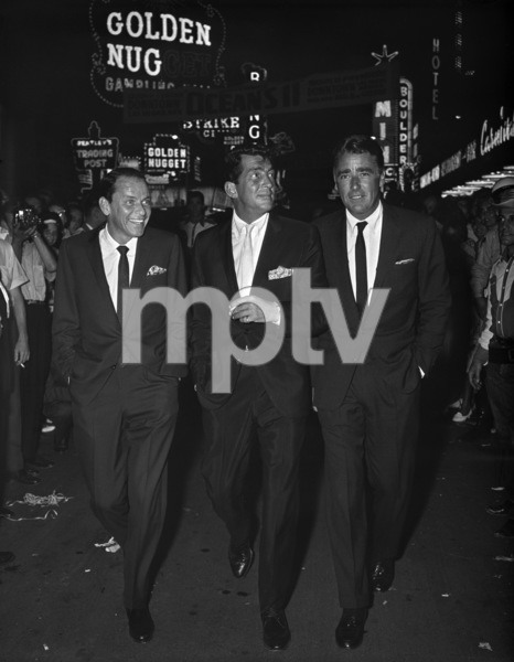 "Frank Sinatra, Dean Martin and Peter Lawford at the premiere of ""Ocean"