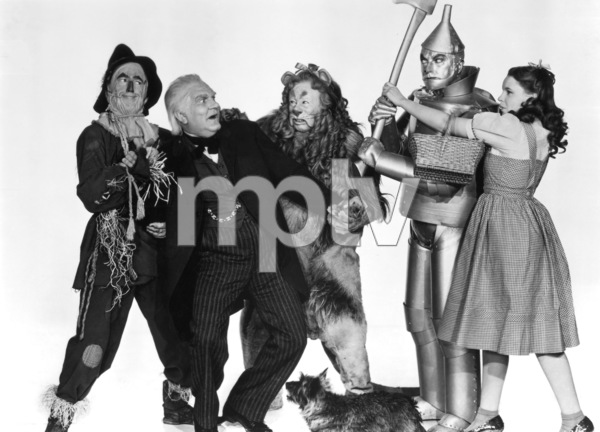 """""""The Wizard of Oz""""Ray Bolger, Frank Morgan, Bert Lahr, Jack Haley, Judy Garland, Terry the dog1939 MGM - Image 3823_0159"""