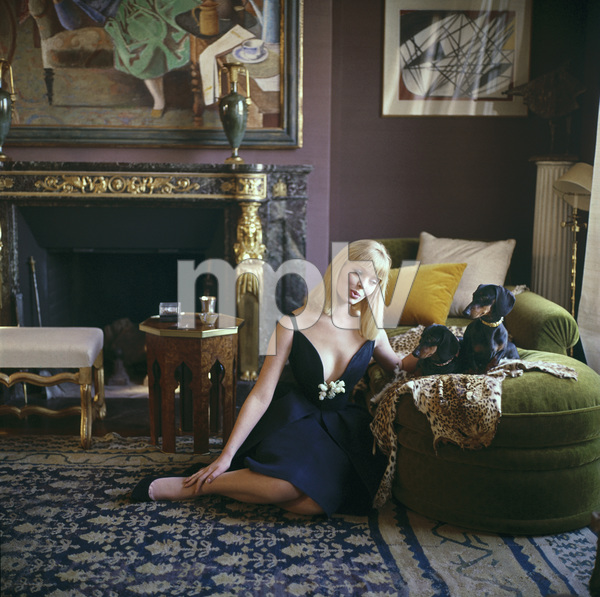 Nico, later of the Velvet Underground, with dachsunds, at the apartment of decorator Henri Samuel in Paris, France 1960 © 2005 Mark Shaw - Image 3956_0932