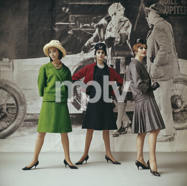 """Dior fashion models wearing """"Vert gazon,"""" """"Gavroche,"""" and """"Flirt"""" ensembles (Spring-Summer Haute Couture collection, Slim Look line)1961© 2013 Mark Shaw - Image 3956_1120"""