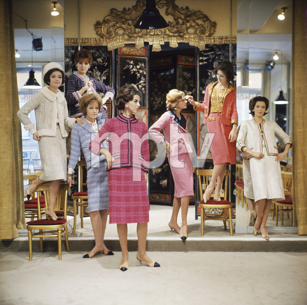 Chanel models (Vera Valdez, third from the right, is wearing the famous pink suit from the 1961 collection that Jacqueline Kennedy wore the day of the assassination in 1963circa 1957© 2014 Mark Shaw - Image 3956_1202