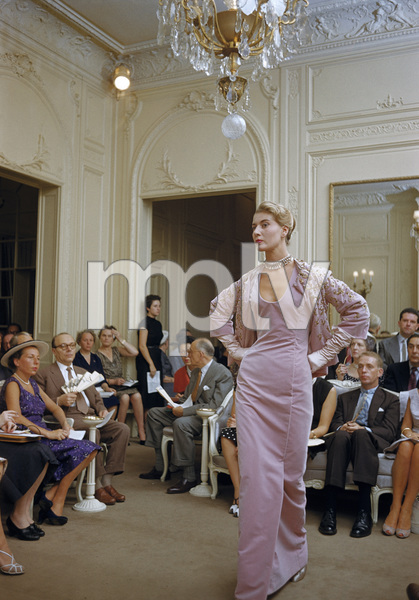 Dior fashion model France wearing ensemble (Autumn-Winter 1954 Haute Couture collection, H line)1954© 2017 Mark Shaw - Image 3956_1265