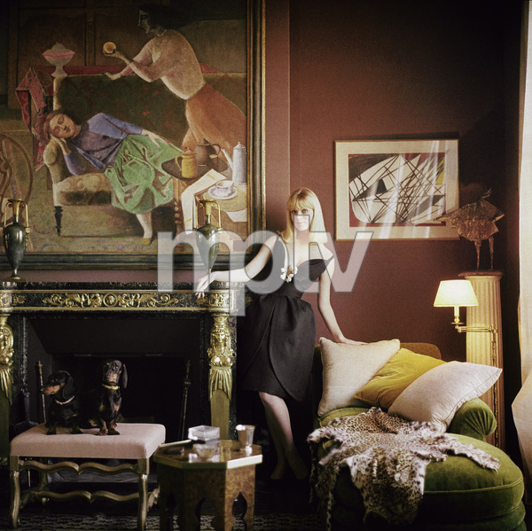 Nico, later the lead singer of the Velvet Underground, with dachsunds at the apartment of decorator Henri Samuel in Paris, France1960© 1978 Mark Shaw - Image 3956_1274