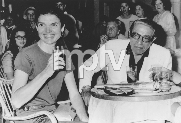 Jacqueline Kennedy-Onassis with husband Aristotle Onassis celebrating her 40th birthday in AthensAugust 1, 1969 - Image 4027_0005