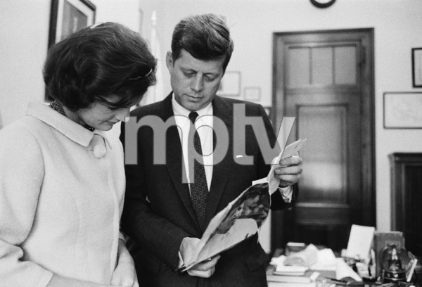 Jacqueline and John F. Kennedy in his office at the old senate building in Washington D.C.1959© 2012 Mark Shaw - Image 4027_0159