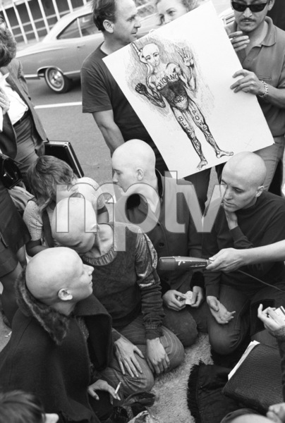Charles Manson followers outside Los Angeles courthouse1969© 1978 Gunther - Image 4203_0062