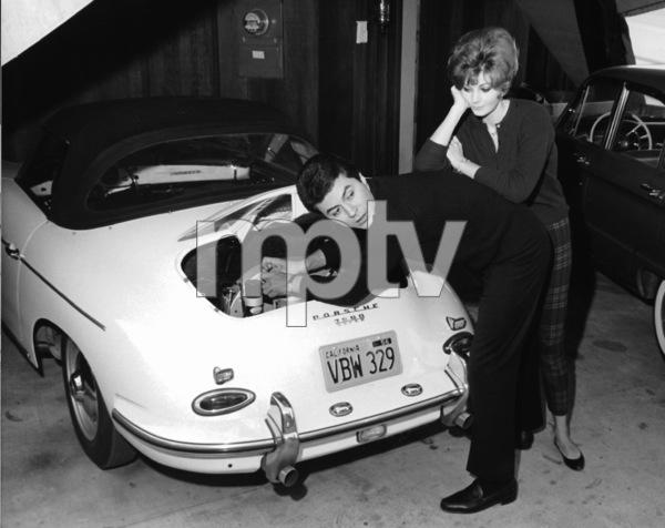 JAMES DARRENAT HOME WITH HIS 1st WIFE GLORIA TERLITSKY& HIS 1956 PORSCHE / 1956 © 1978 GENE TRINDL - Image 4760_0014