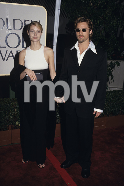 """Brad Pitt and Gwyneth Paltrow at """"The 53rd Annual Golden Globe Awards""""1996© 1996 Gary Lewis - Image 4811_0026"""