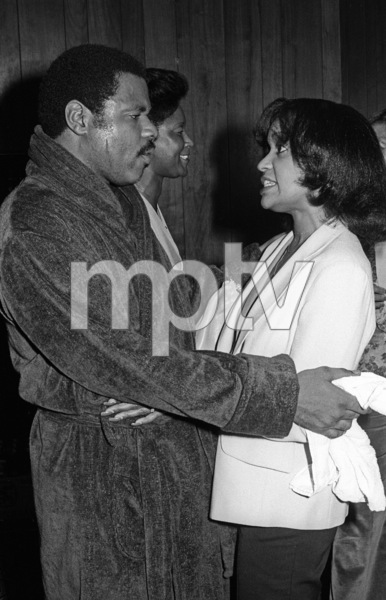Billy Preston backstage at the Roxy in Hollywood with Iris Gordy1979© 1979 Bobby Holland - Image 4884_0012