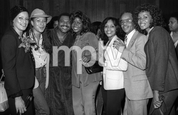 Billy Preston backstage at the Roxy in Hollywood with Winnie Martin (Motown executive), High Inergy, Iris Gordy and Fuller Gordy1979© 1979 Bobby Holland - Image 4884_0013