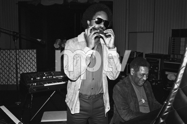 "Stevie Wonder and Dizzy Gillespie recording ""Do I Do"" at Wonderland Studios 1979© 1979 Michael Jones - Image 4991_0007"