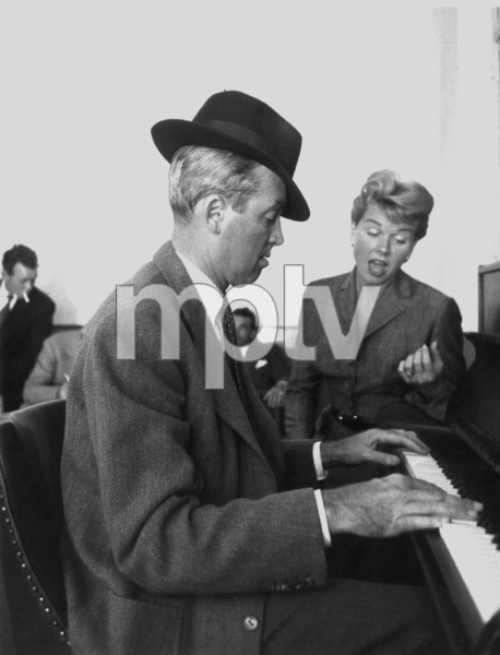 """James Stewart and Doris Day at the piano on the set of """"The Man Who Knew Too Much,"""" 1956. © 1978 Sanford Roth AMPASMPTV - Image 5372_24"""