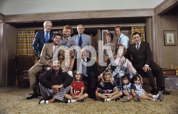 """Bewitched"" Paul Lynde, Maurice Evans, Elizabeth Montgomery, Dick Sargent, David White, Alice Ghostley, Bernie Kopell, Bernard Fox, Agnes Moorehead, David and Greg Lawrence, Erin and Diane Murphy 1971 © 1978 Gene Trindl - Image 5406_0026"
