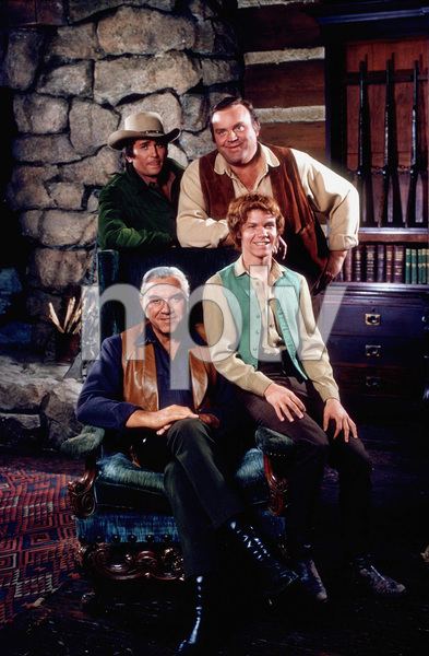 """Bonanza""Lorne Greene, Michael Landon, Dan Blocker, Jamie Hunter1971 NBC © 1971 Gene TrindlMPTV - Image 5424_0014"