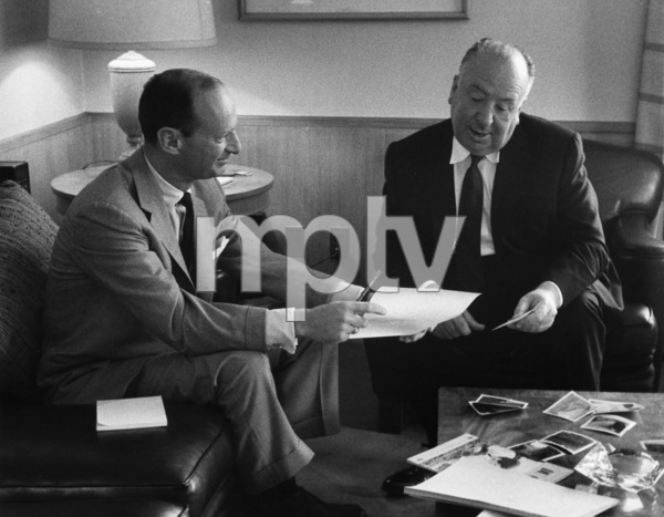 """""""North by Northwest""""Writer Ernest Lehman with director Alfred Hitchcock1959 MGM © 1978 Lou Jacobs Jr. - Image 5667_0028"""