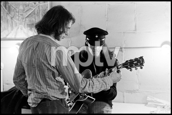 """Ian Underwood and Jim """"Motorhead"""" Sherwood of The Mothers of Invention prior to a performance in Fall River, Massachusetts 18 February 1968© 2020 Ed Lefkowicz - Image 5872_0062"""