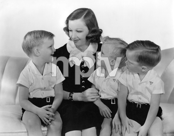 Dixie Lee Crosby with her sons, Gary, left and twins Phillip and Dennis1938 - Image 7156_0003