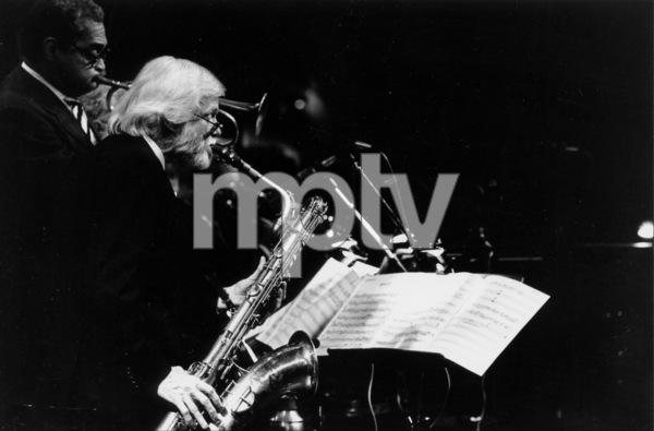 "Gerry Mulligan and Art Farmer (left) at the ""Jazz Gipfel"" concert, Stuttgart, Germany, 1992. © 1978 Bob Willoughby / MPTV - Image 7254_208"