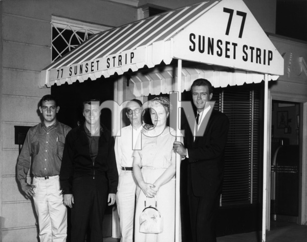 """Roger Smith with his mother, father, brother and Edd """"Kookie"""" Byrnes on the set of """"77 Sunset Strip""""circa 1960s© 1978 Joe Shere - Image 7345_0008"""
