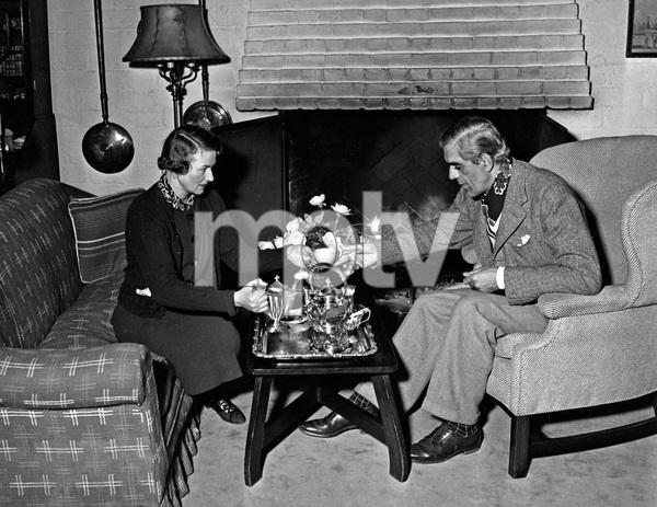 Boris Karloff and wife at home, Late 30