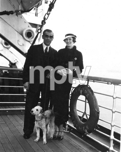 Boris Karloff and wife returning home from London, Late 30