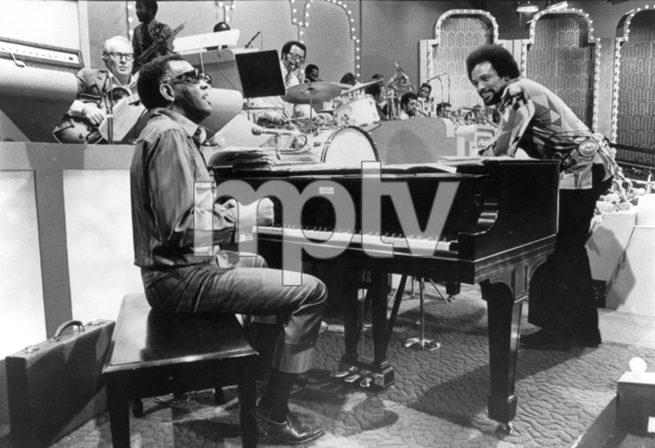 Quincy Jones and Ray Charles preparing for an appearence on a Merv Griffin television special.c.1970 - Image 7920_0020