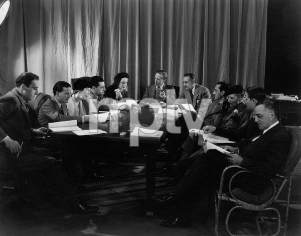 """Romeo and Juliet""L-R: David O. Selznick, Norma Shearer, Leslie Howard, John Barrymore, Basil Rathbone, Irene Mayer Selznick, C. Aubrey Smith (far right)1936 MGMPhoto by Ted Allan - Image 8105_0011"
