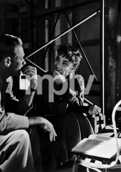"Audrey Hepburn with William Holden behind the scens of ""Sabrina"" 1953© 2000 Mark Shaw - Image 8124_0036"
