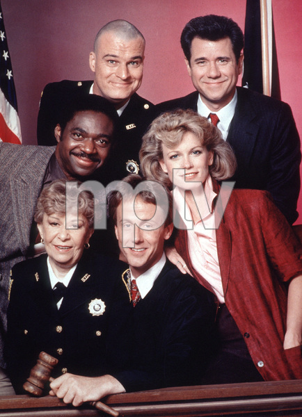"""Night Court""Selma Diamond, John Larroquette, Richard Moll, Harry Anderson, Charles Robinson, Ellen Foley.1985 / NBCPhoto by Herb Ball - Image 8734_0002"