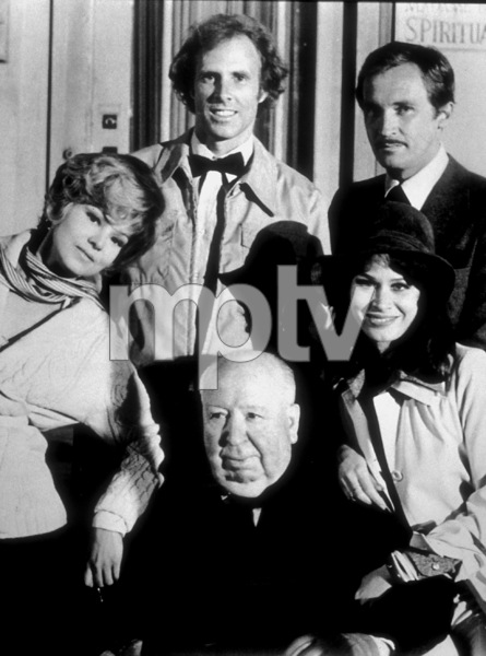 """Family Plot,""B. Harris, B. Dern, R. Thinnes, K. Black,and Director Alfred Hitchcock, 1976. © 1978 Larry Barbier - Image 8897_0011"